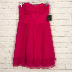 Nanette Lepore Silk Strapless Hot Pink Layer Dress